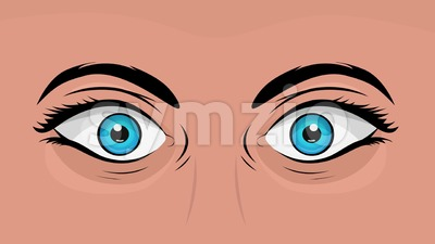 Comic Books Woman Eyes Looking With Surprise Stock Video