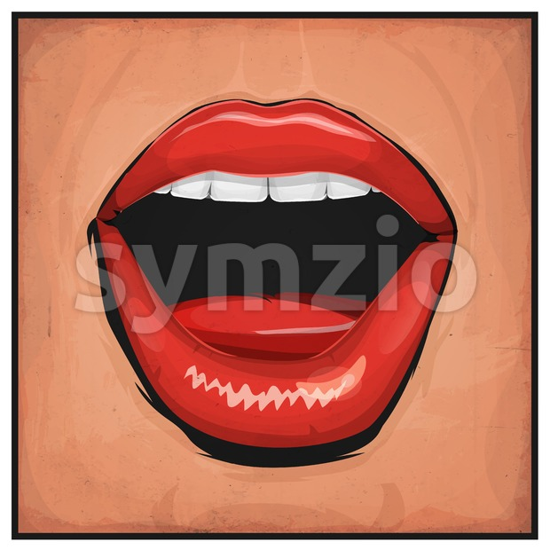 Illustration of a cartoon comic woman sexy mouth with red lipsticks and grunge texture