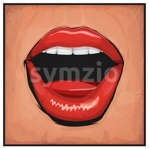 Comic Books Girl Mouth With Red Lipsticks Stock Vector