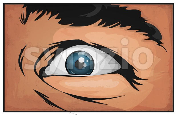 Comic Books Man Eyes Scared Stock Vector