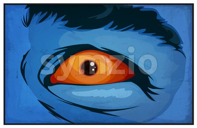 Comic Books Mutant Superhero Eyes Scared Stock Vector