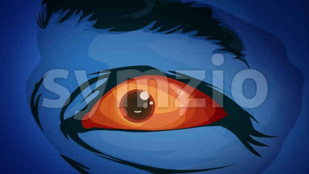4k awesome animation of cartoon comic mutant superhero eyes watching and staring at you with terror and fright