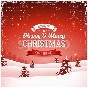 Vintage Christmas Landscape Background Stock Vector