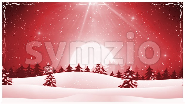 4k animation of a seamless loopable cartoon christmas holidays landscape, with snowfall and snow, firs, mountains and beautiful starry sky ...