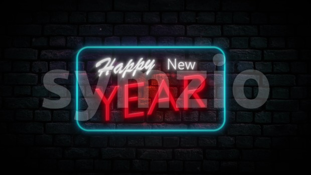 4k animation of a neon happy new year sign blinking like for night storefront, restaurant, motel and night business