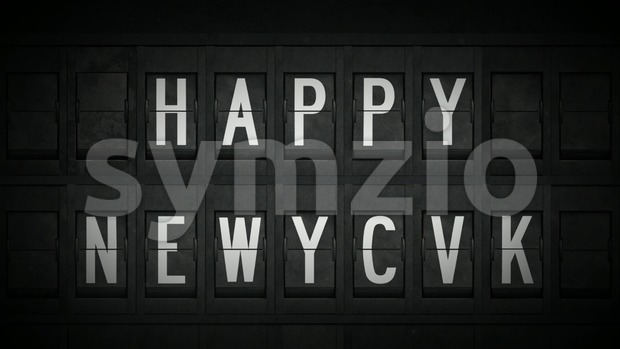 4k animation of a happy new year celebration background with airport style split flap letters showing and grain and texture ...