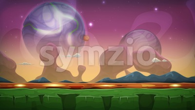 Cartoon Fantasy Alien Background Seamless Looping Stock Video
