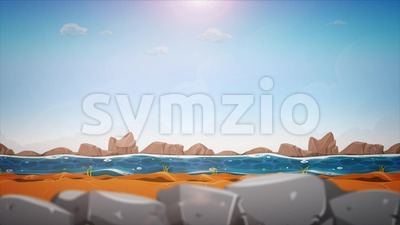 Cartoon River Landscape Background Loop Stock Video