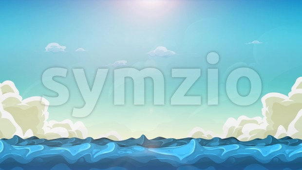 Animation of a summer cartoon landscape with funny waves seamless looping in the sunshine