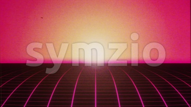 4k animation of an abstract retro background with eighties style made of synthwave, VHS distortion texture and vintage pixellation seamless ...