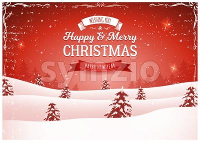Vintage Red Christmas Landscape Background Stock Vector
