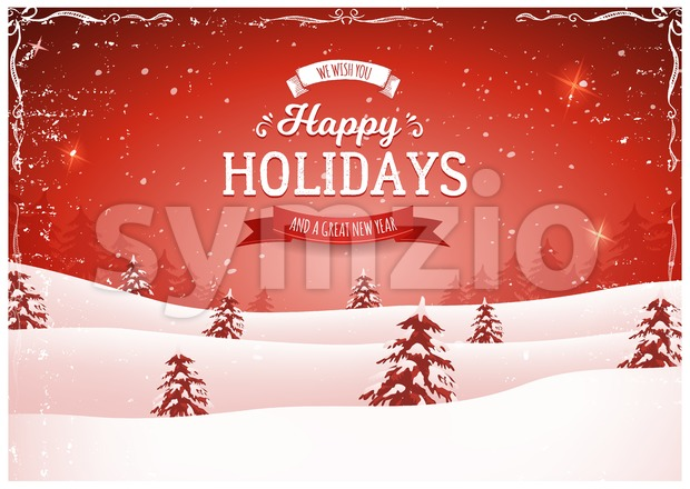 Illustration of a retro red christmas landscape background, with firs, snow and elegant banners for winter and new year holidays