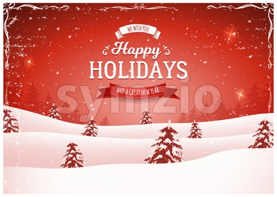 Vintage Red Christmas Landscape Background Stock Vector