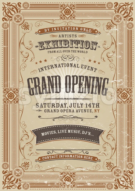Illustration of a vintage invitation background to a grand opening exhibition with floral patterns, frames, banners, grunge texture and lots ...