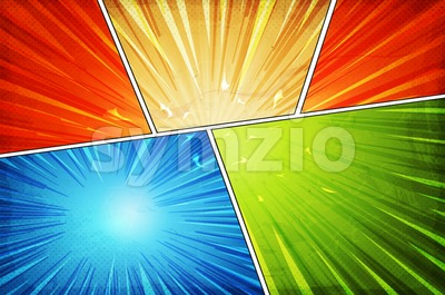 Comic Book Action Layout Background With Power Fx Stock Vector