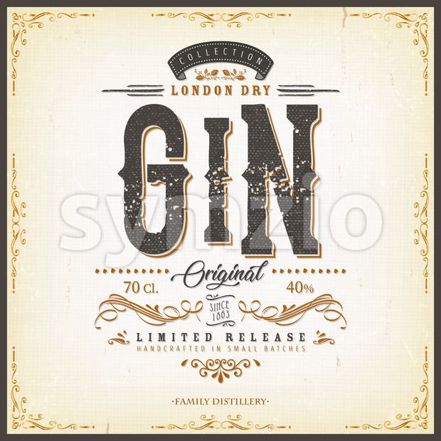 Illustration of a vintage design elegant london dry gin label, with crafted lettering, specific product mentions, textures and hand drawn ...