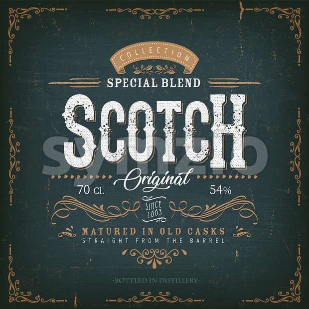 Vintage Scotch Whisky Label For Bottle Stock Vector