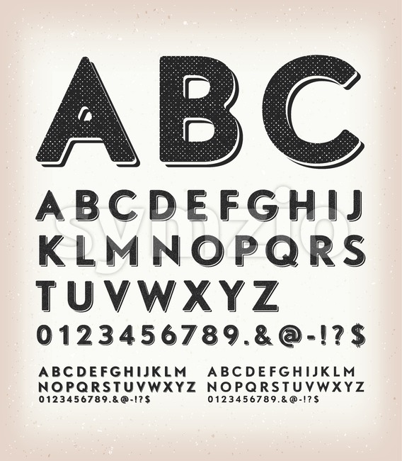 Illustration of a set of retro western design abc typefont, in regular, grunge and shadow version, also working for tattoo, ...
