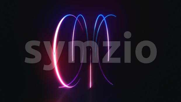 4k animation of an abstract background with shining neon light strokes following circular ring motion path
