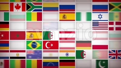 World Countries Flags Icons Background Loop Stock Video